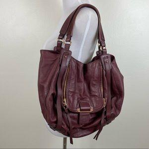 Kooba Jonnie Leather Shopper Bag in Dark Berry